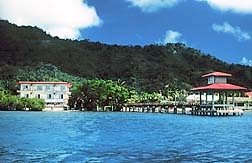 View from ocean of hotel and restaurant - Courtesy of www.trukstophotel.com
